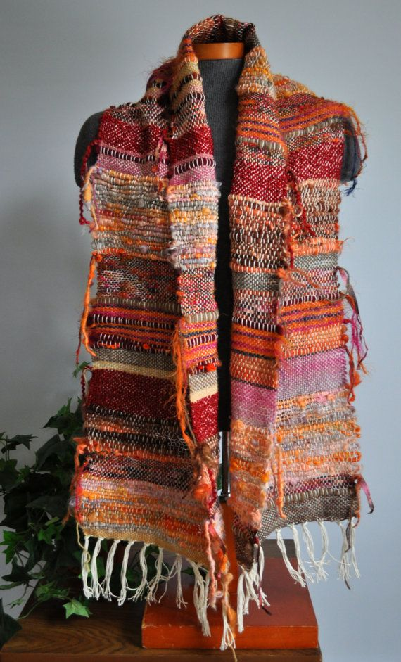 Hand Woven Saori Style Scarf Shawl