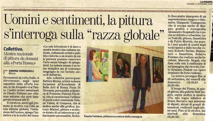 COLLETTIVA HUMAN NATURE  articolo su LA STAMPA  12 settembre 2008
