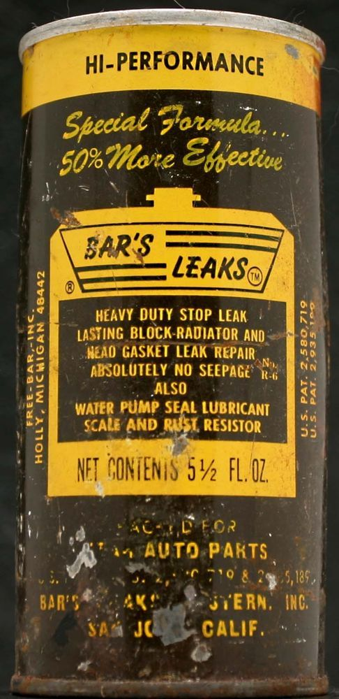 1960s/1970s VINTAGE BAR'S LEAKS HI-PERFORMANCE RADIATOR TREATMENT CAN Made In US