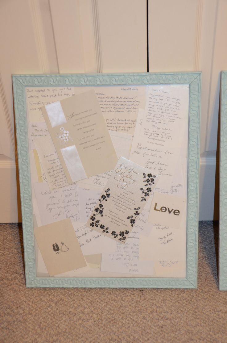 DIY Anniversary present. Spray painted pictures frames with a collage of wedding cards cut up and placed together. Or any special cards for whatever occasion.