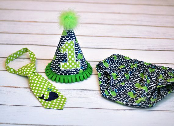 Whale Navy Blue Lime Green Cake Smash Outfit  by FreshForHim