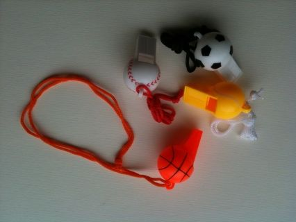 Whistles can form a simple, inexpensive part of your safety plan for children on the farm. Teach them to have it on hand while out exploring and blow in an emergency.  These whistles come in the shape of a soccer ball/football, baseball, basketball and tennis ball. Made of plastic, these whistles attach with a cord and have no ballbearing inside.  3+ years