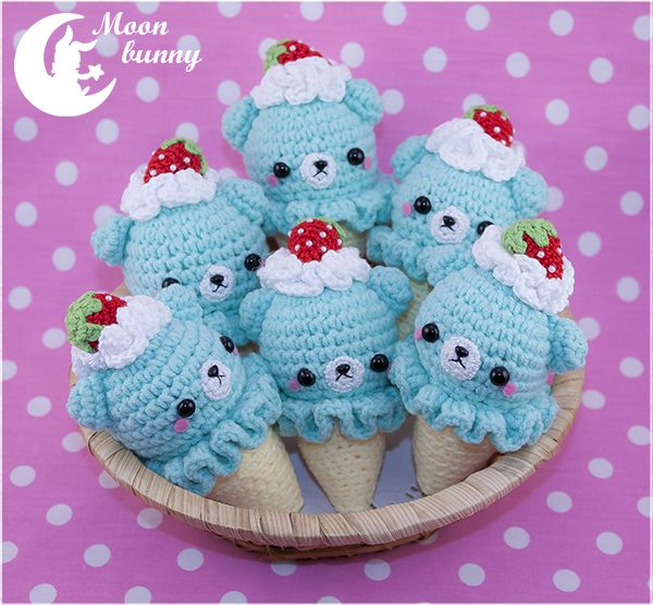 Crochet ice cream baby bears Charm By Moonbunny by CuteMoonbunny on DeviantArt