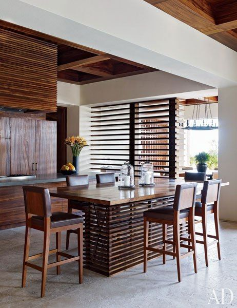 Cindy Crawford and Rande Gerber and Neighbor George Clooney's Side-By-Side Mexican Villas: Clooney's Kitchen Dining Area - A dining area in Clooney's kitchen.