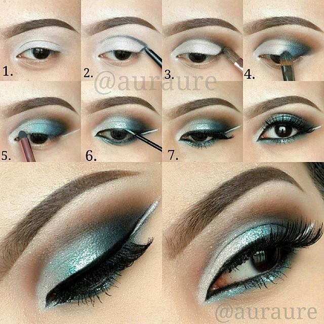 """Eye Makeup Tutorial by @auraure  Teal with a hint of sparks Eye Makeup Step by step. Products used ( based on number) : 1. #nyxcosmetics """"Milk"""" Jumbo Pencil 2. #anastasiabeverlyhills Eye Covet Liner """"Noir"""" 3. #anastasiabeverlyhills Lavish Palette """"Sienna"""""""