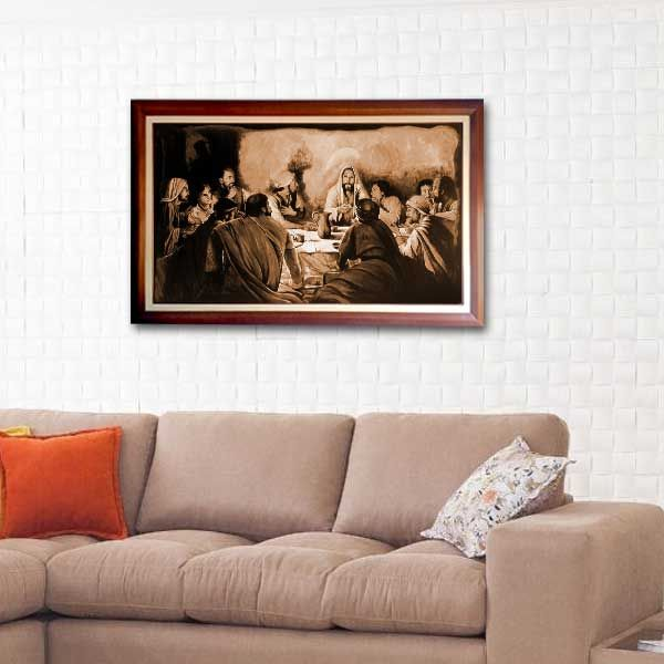 Lukisan Kanvas Printing - The Last Supper Monocrom