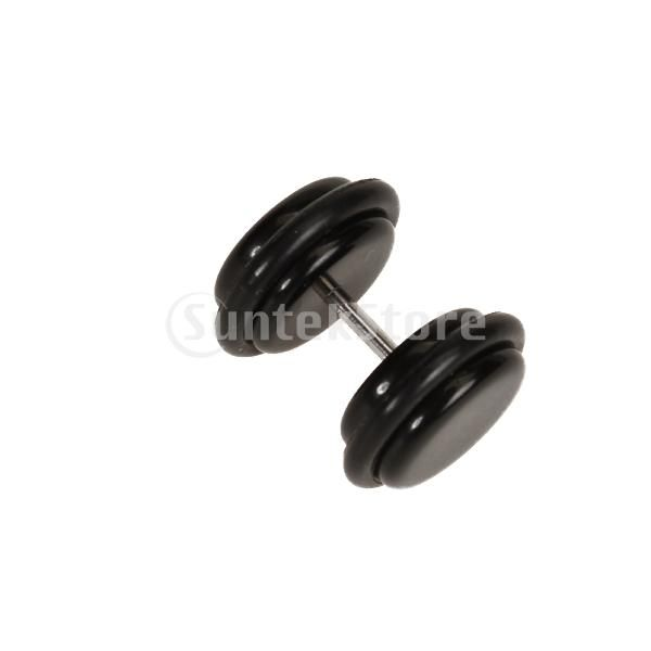 18g Ear Stud With 0g Acrylic Fake Plug Taper Stretcher O Rings Black