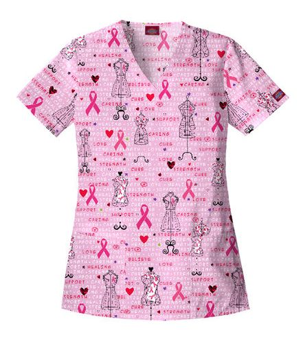 breast cancer scrub top