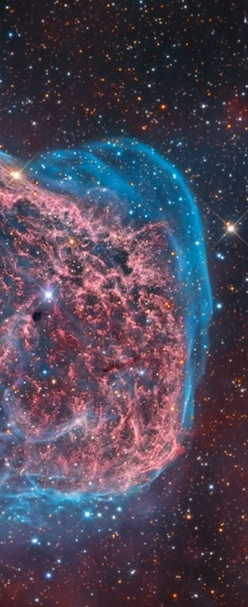 Photograph: Mark Hanson/Astronomy Photographer of the Year 2014... NGC 6888 by Mark Hanson (US). This colourful starscape taken from Rancho Hidalgo, New Mexico, US reveals the searing heat of the Crescent Nebula glowing in a whirl of red and blue. (Cropped for Pinterest, click on the image for story and full image)