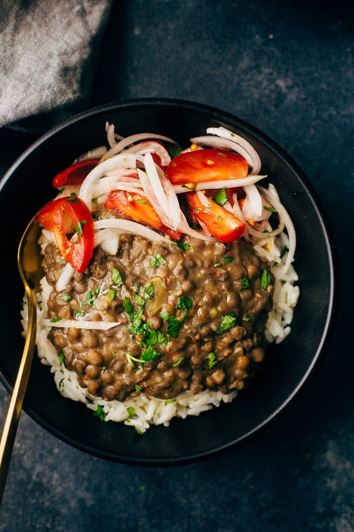 30 Minute Garlic Brown Lentil Dal - A quick dal made in the pressure cooker and flavored with sliced onions and garlic oil.