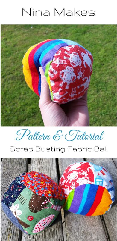 Scrapbuster Stuffed Fabric Ball Pattern   Tutorial on Nina Makes