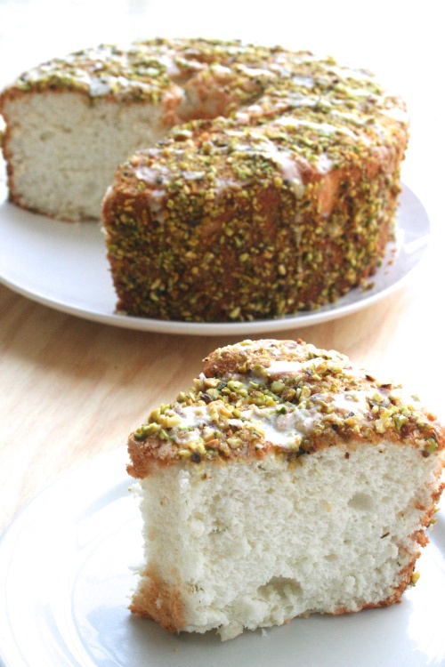 Something different! Angel food cake w/lime glaze and pistachios ...