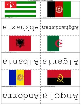 Know the flags of the world: Learn this set of flash cards and you'll be able to identify the flags of every major country and territory in the world. Free to download and print