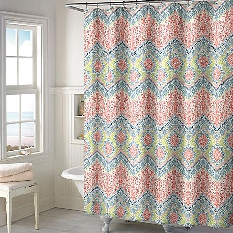 Add a touch of modern style to your bathroom setting with the New Sage Chevron Shower Curtain in Coral. With a 100% cotton construction and an eye-catching pattern, this chic shower curtain is a simple way to add some flair to your decor.