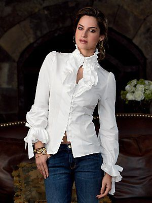 Love white ruffled blouses - ME, TOO & THIS ONE IS VERY FEMININE W/ALMOST A  WESTERN FEEL
