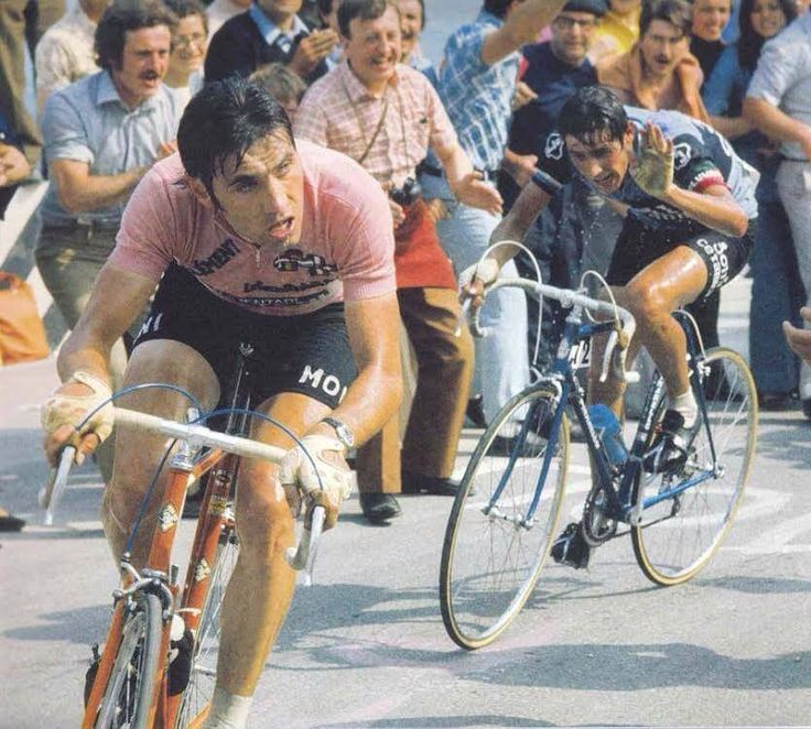 "Eddy Merckx vs Giovanni Battaglin, 1973 Giro d'Italia, Stage 8 (Monte Carpegna). Battaglin: ""I'm done…"" http://cycling-passion.com/2014/02/25/merckx-battaglin-monte-carpegna-1973-giro/"