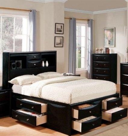 amazoncom manhattan black king storage bed by acme home u0026 kitchen