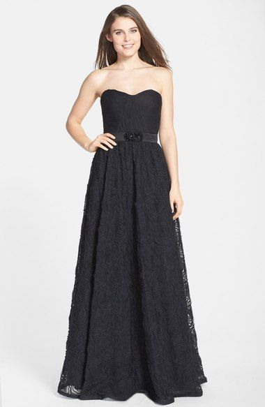 Adrianna Papell Pleat Bodice Rosette Ballgown available at #Nordstrom
