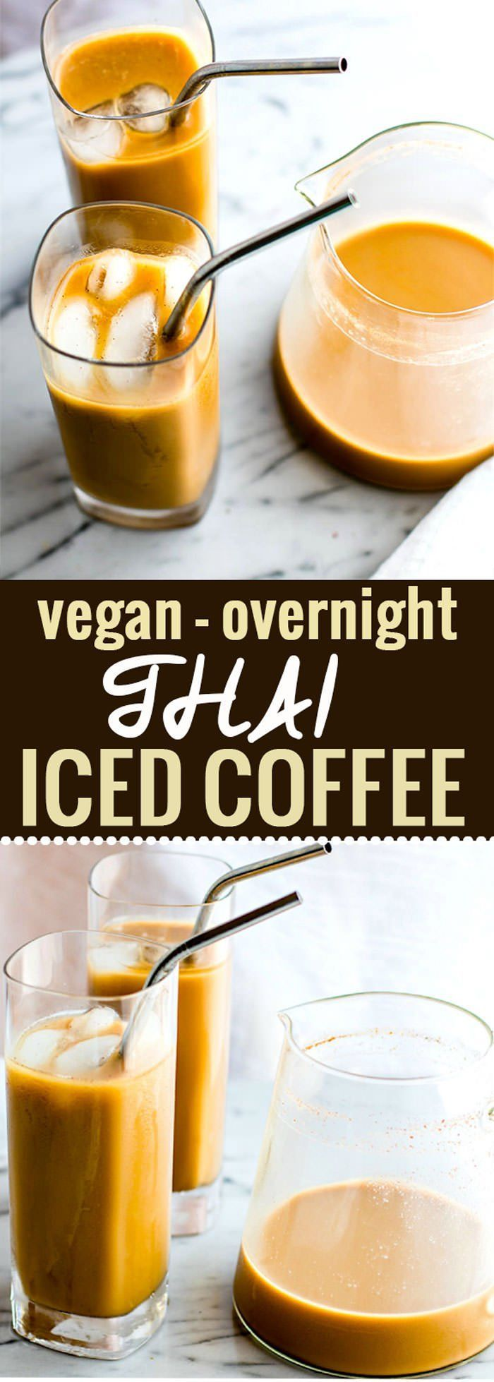 Vegan Overnight Thai Iced Coffee. A super simple THAI iced coffee that's healthy and packed with flavor! This vegan iced coffee version is perfect to make ahead and enjoy the next morning. #nutchello