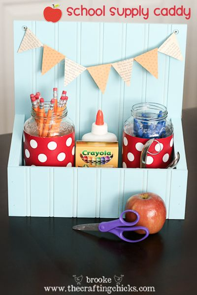 Beadboard school supply caddy is a great way to use up small pieces left over from larger projects!