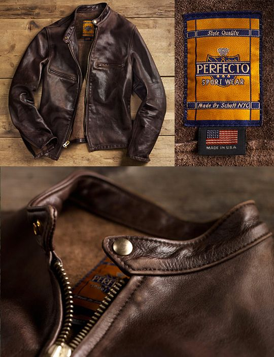 Schott Perfecto. I have this jacket and it's great. Thick leather that is supple and broken in. It's a beautiful brown that looks better in person.