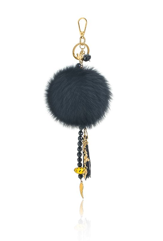 Pompon Bag Charm with 12cm black real fox fur,metal ring and clip, crystal beads and decorative elements. Price: 42.00E