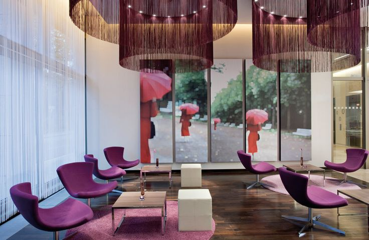 "The ""Purple Lounge"" in a Hotel with an Electric Curtain Track System"