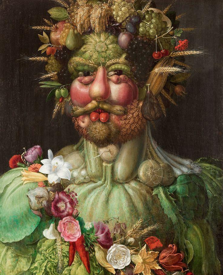 """De schilderijen """"Lente"""", """"Zomer"""", """"Herfst"""" en """"Winter"""" van Giuseppe Arcimboldo laten zich lezen als een wandeling door een tuin. Het zijn portretten opgebouwd uit groenten, fruit, kruiden, bomen, granen en bloemen. """"Humoristisch"""" zou je ze op het eerste gezicht kunnen noemen, maar deze ingenieuze schilderijen zijn veel meer dan dat. Hoe langer je er naar …"""