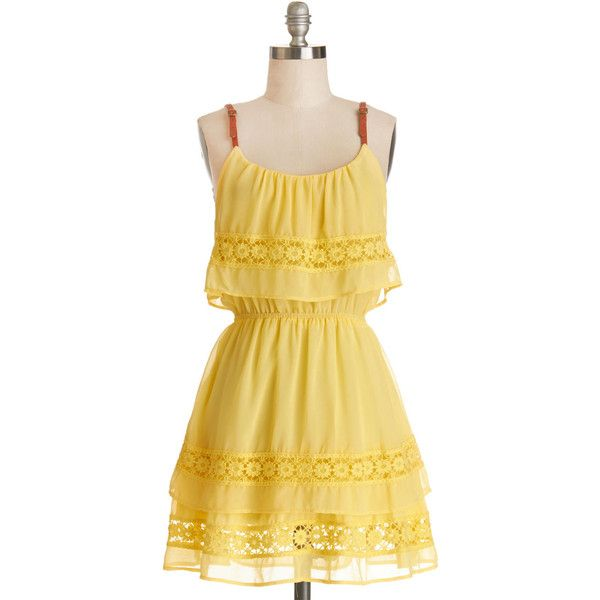 ModCloth Festival Short Sleeveless A-line Date With a Darling Dress ($38) ❤ liked on Polyvore featuring dresses, modcloth, vestidos, yellow, apparel, fashion dress, yellow sundress, vintage yellow dress, vintage crochet dress and yellow dress