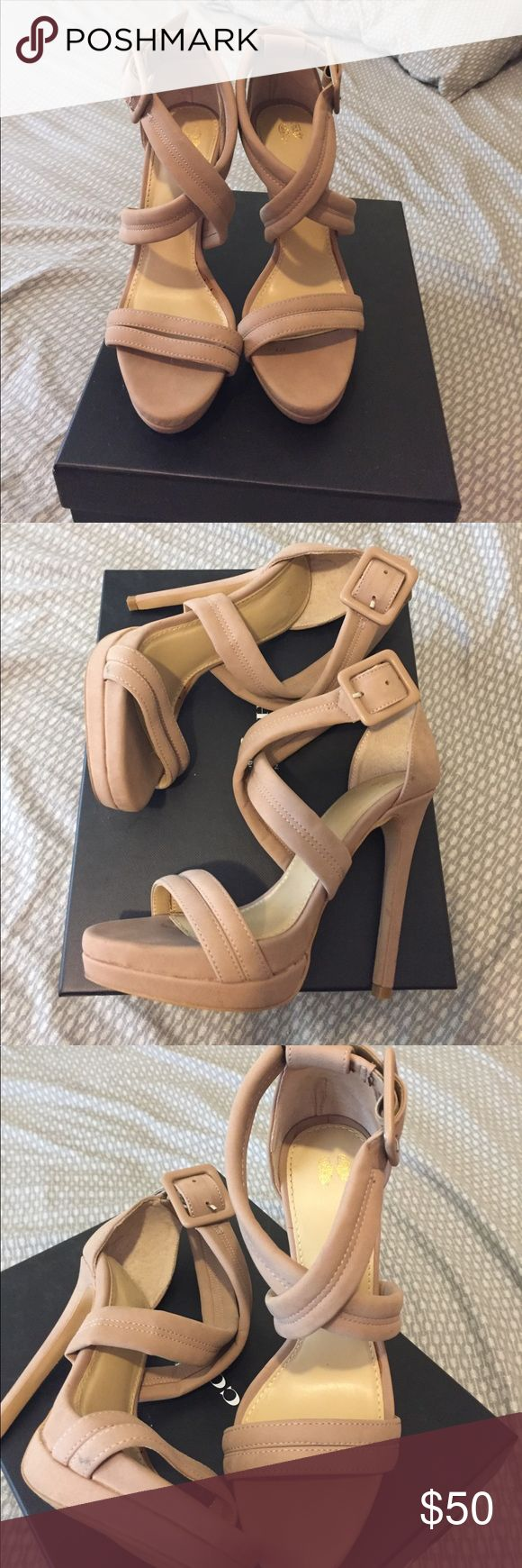 Nude high heels Cute nude strappy high heels. Only worn once. Shoes Heels
