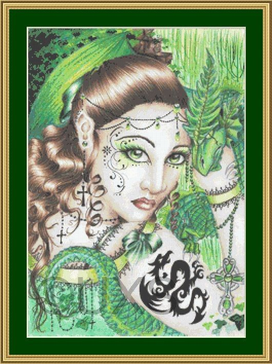 Green Elf with dragon fantasy counted cross by UnconventionalX, $15.00