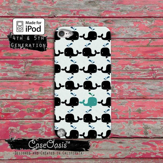 Whale Pattern Black and Blue Cute Fish iPod Touch 4th Generation or iPod Touch 5th Generation or iPod Touch 6th Generation Gen Rubber