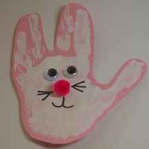 Easter Bunny Handprint Craft!  Really simple for young children!!