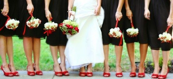 red wedding shoes shoes.: Bridesmaid Pics, Idea, Black Dresses, Wedding Shoes, Red Shoes, Dresses Red, Black Bridesmaid Dresses, Bridal Shoes, Red Wedding
