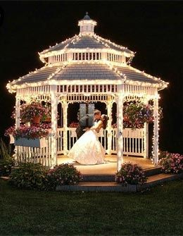 I have a gazebo this shape...I should light it this way for my daughter for her grad or her wedding some day...