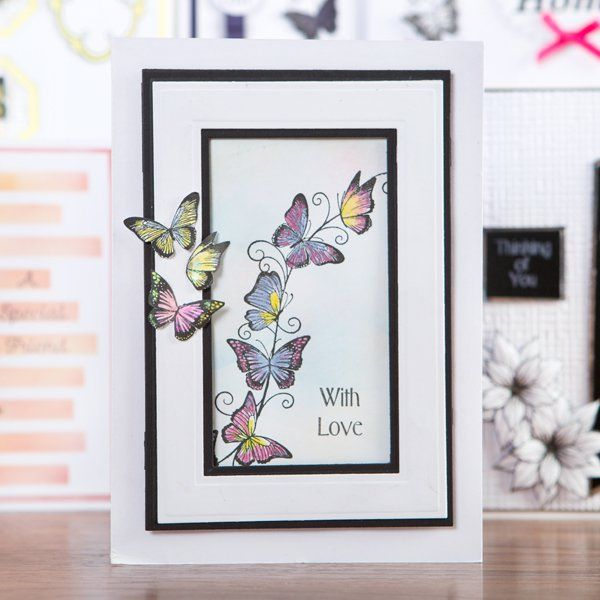 Honey Doo Crafts Just Incase collection - Butterfly Border and Just Incase Clear Polymer Stamp Sets - 12 Elements (345694) | Create and Craft