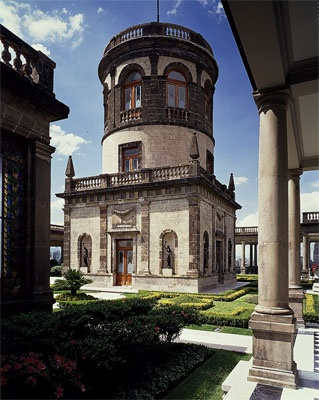 rooftop tower of Castillo de Chapultepec - Mexico -site of the hill was a sacred place for the Aztecs. It is the only Royal Castle in the Americas.   .   .   .   photo credit:  http://lotsometalero.blogspot.mx/2010/11/castillo-de-chapultepec.html