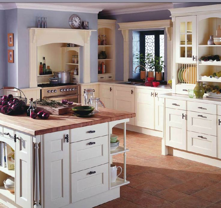 English Country Style Kitchens Design With Open Shelf Plate Racks To Display Your Crockery And Wire Drawer Baskets For Fruit