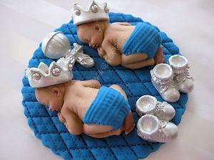 TWINS Boy Cake Topper Baby Shower Prince Baptism Christening favor Silver
