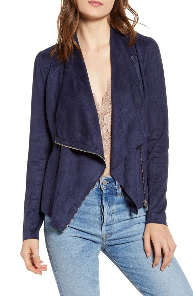BLANKNYC Faux Suede Drape Front Jacket (Regular & Plus