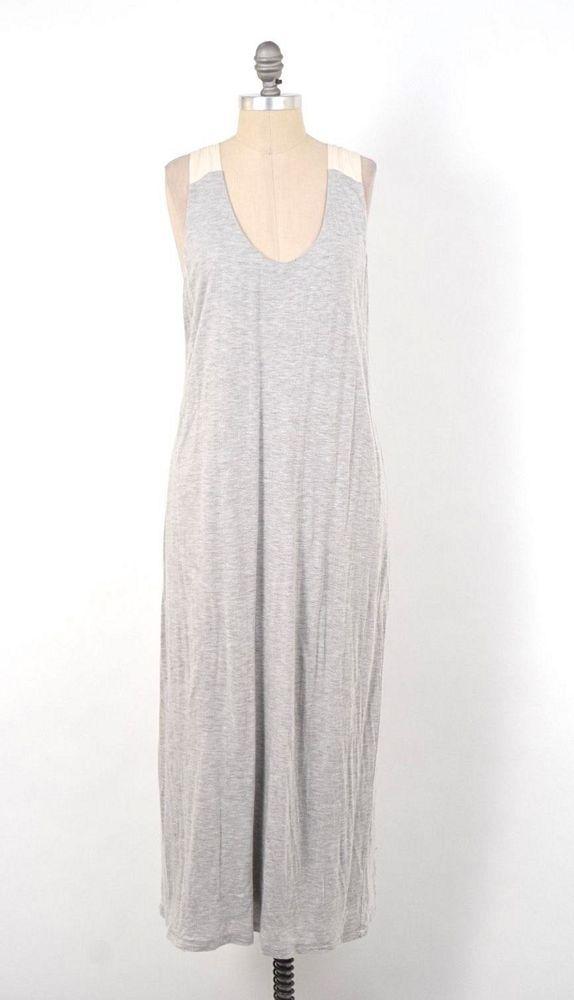 J.Crew Heather Gray Linen Blend Knit Silk Trim Jersey Maxi Dress M #JCREW #Maxijersey #Casual