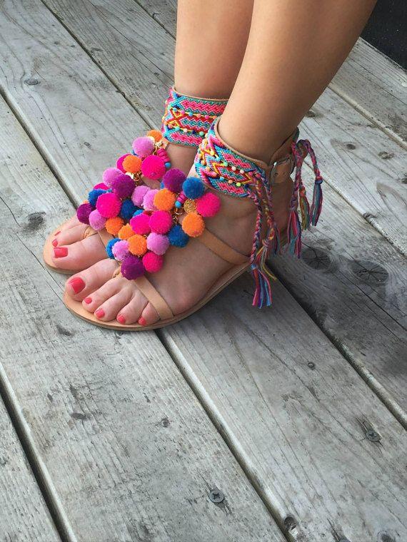 Bohemio Pom Pom sandalias sandalias de tiras de por SandalsofLove