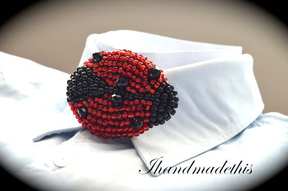 Beaded ladybug bow tie beads embroidery brooch by Ihandmadethis