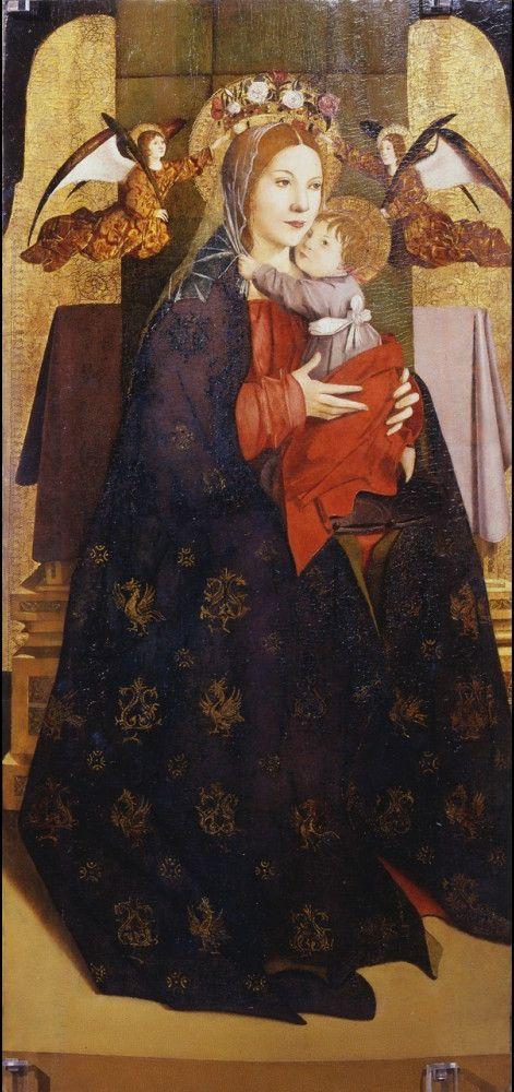 Madonna col Bambino e angeli reggicorona AutoreAntonello da Messina Data1470-1475 circa Tecnicaolio su tavola Dimensioni114,8 cm × 54,5 cm  UbicazioneUffizi, Firenze