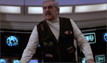 Montgomery Scott (James Doohan).  Year of birth: 2222  Birthplace: Earth.  Education: Starfleet Academy (2240-44).  Final Rank: Captain.