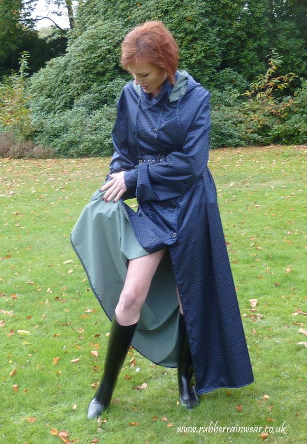 Fancy a peak under this beautiful babe's Rubber Rainwear? Find more on our website!