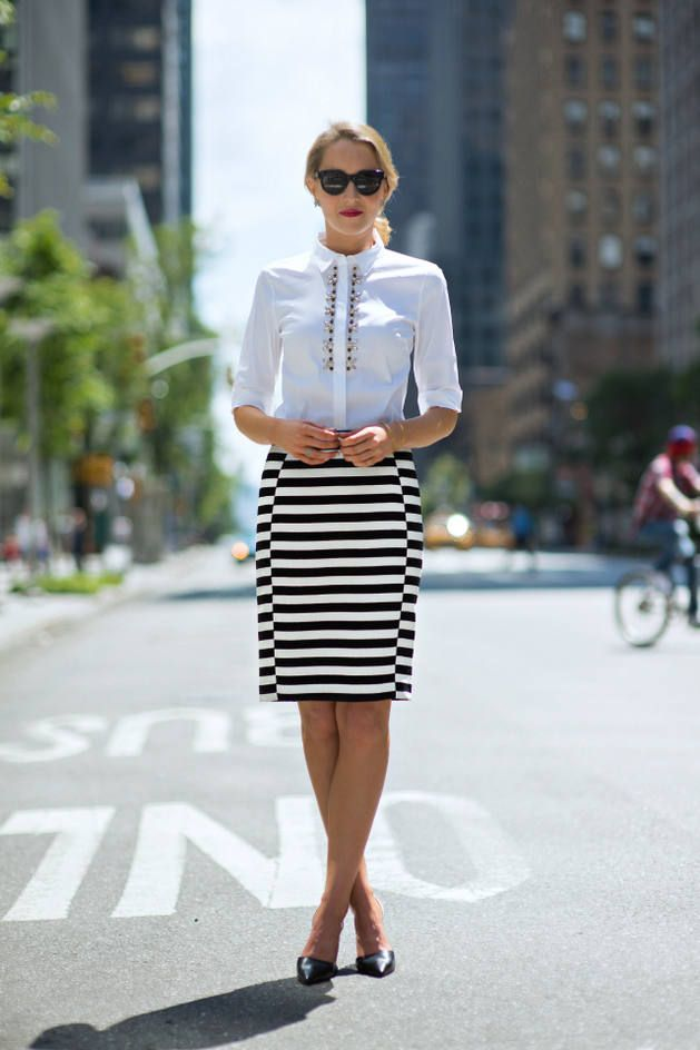 Ann Taylor Black And White Classic Stripe Jacquard Pencil Skirt -- I LOVE this skirt...wish I could find it :(