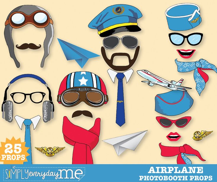 SimplyEverydayMe: NEW Retro Airplane Party Photo Booth Prop Kit ...