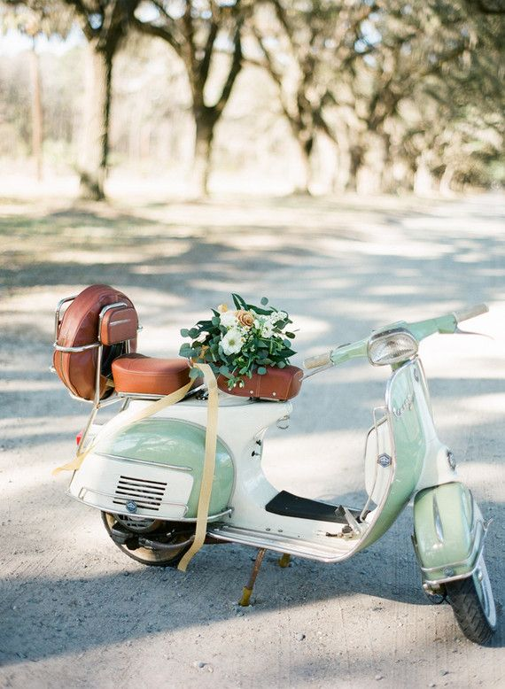 Getaway car http://www.100layercake.com/blog/2015/09/14/romantic-southern-wedding-inspiration-2/