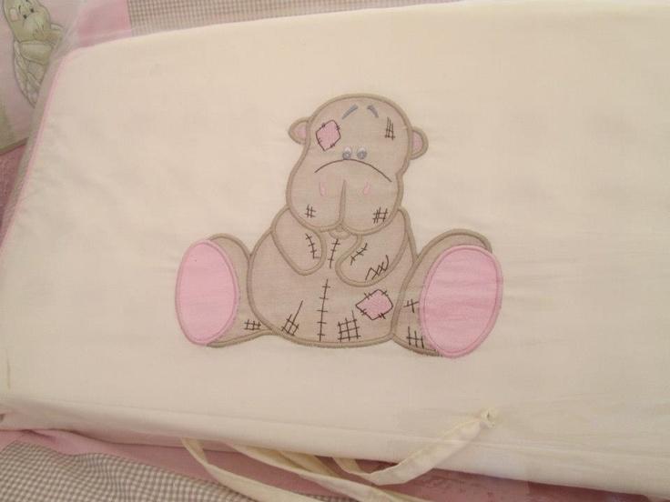 Pink and stone scruffy jungle bumper - hippo applique